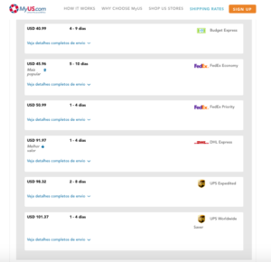 myus rates, my us rates, shipping rates for myus